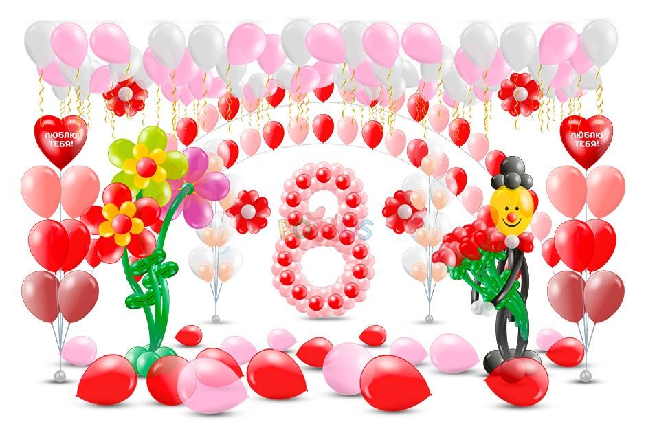 гелиевые шары на 8 марта